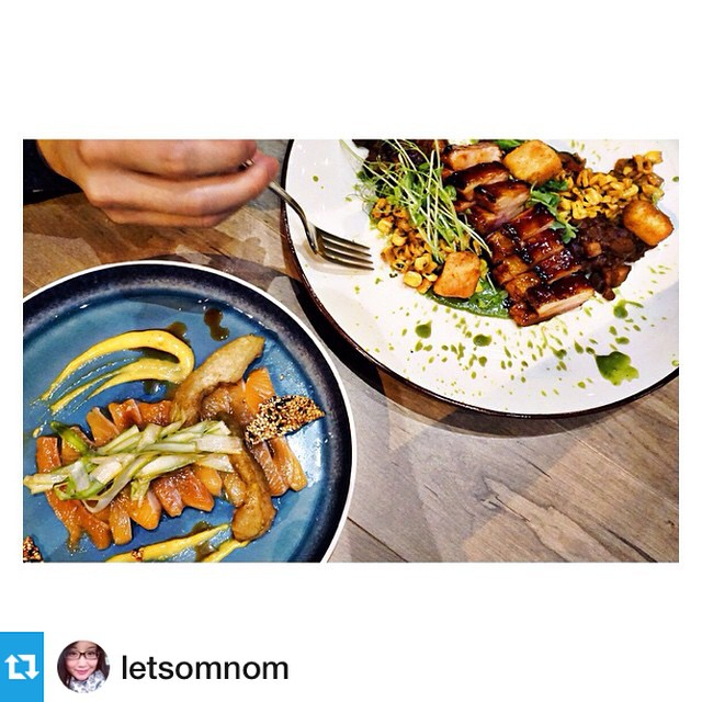 Glad to have @letsomnom dining with us tonight! #ampersand27yeg #instafood #foodies #Repost from @letsomnom --- some sharing plates for the night: maple butter pork belly & Arctic char crudo #yegfood