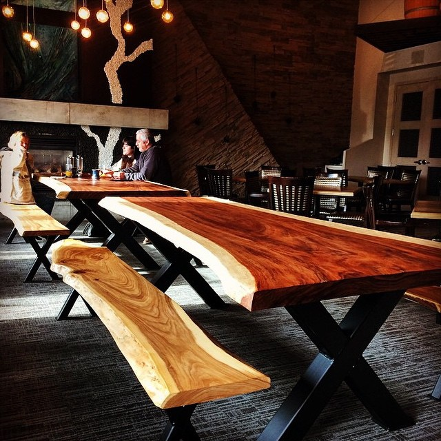 Thank you @urbantimber_ca for our slab tables and benches! #ampersand27yeg #instafood #decor #foodies #yeg #edmonton #eatlocal #shoplocal #restaurant