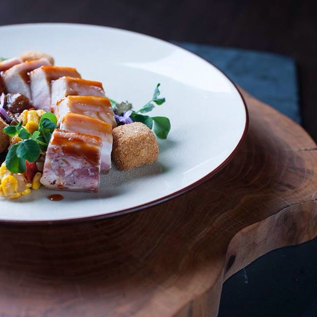 That's our Pork Belly dish. Want some more food inspiration for lunch? Check our website at ampersand27.com #ampersand27yeg #yegfood #instafood #food for #foodies #yeg #eatlocal
