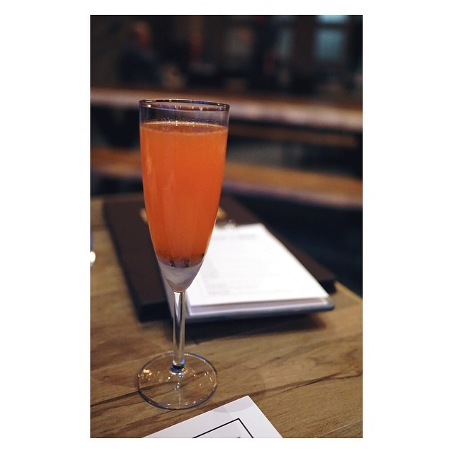 soft opening at @ampersand27yeg, the scintillant fig: aperol, anise fig grapefruit shrub, prosecco #yegfood