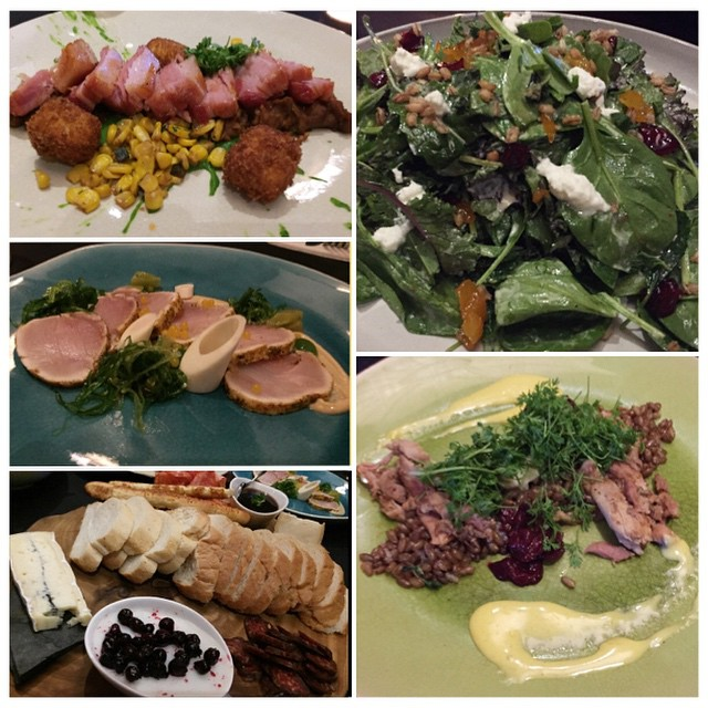 #Dinner at #ampersand27 - #appetizers include kale salad, rabbit confit, albacore tuna, #porkbelly, and #charcuterie. #yummy #yegfood #instafood