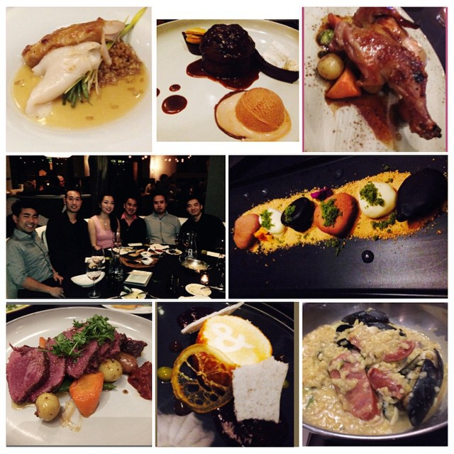 #dinner with great company at #ampersand27 - entrees and #dessert include #seafood #paella, beef short rib, sablefish and chicken. #yegfood #instafood