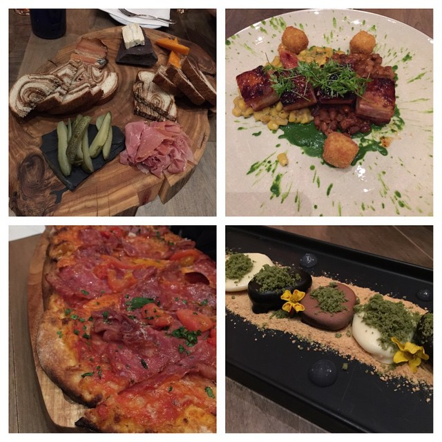 Can we talk about how amazing @ampersand27yeg was. Here we have the charcuterie (smoked trout, peanut fries, Brie from Quebec), The Salty Pig flatbread, the Maple Pork Belly and to finish the Rocky Road. Definitely a unique concept and a totally delicious meal. Plus, a ton of hipsters. # #yeg #ampersand27yeg #gastropost #eatlocal #oldstrathcona #whyteave #girlsnight