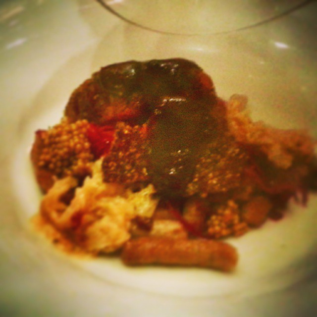 Starting off the new year with some great culinary adventures at the new #Ampersand27 A new restaurant in town. Pork cheeks with rye spaetzle, braised red cabbage and sauerkraut.