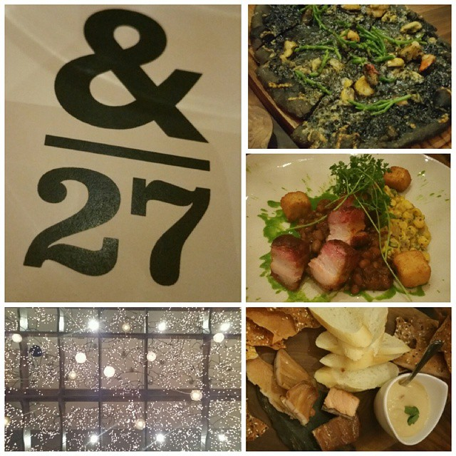 Tried out Ampersand 27 (&27) today :) It was a cool experience, and way too fancy for me like look at dem lights. We had squid ink pizza, maple butter pork belly, our charcuterie (lavash, baguette, candied salmon, smoked trout, hummus) and peanut fries (honestly the best part). #yegfoodie #ampersand27 #squidink #porkbelly #salmon #trout #charcuterie #fancystuff